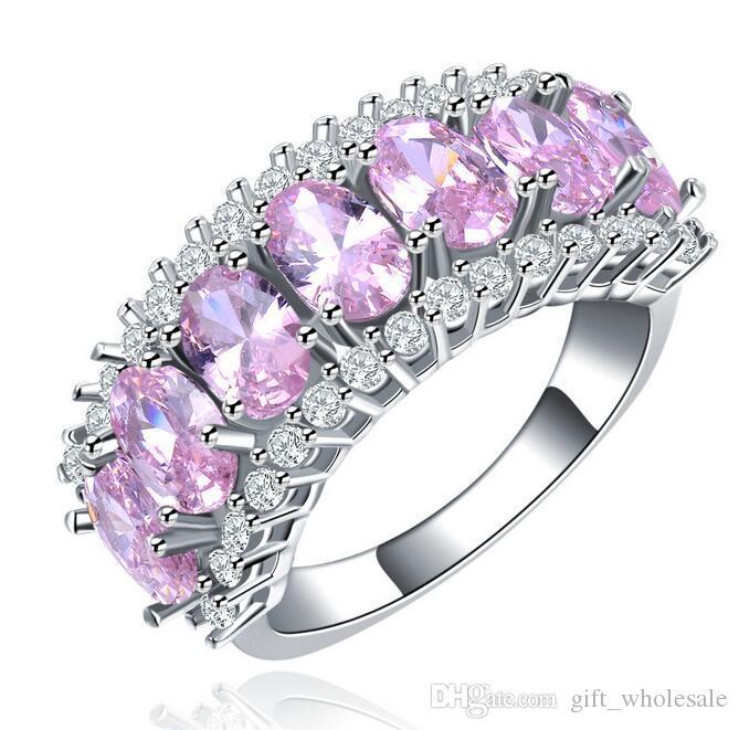 Freies Verschiffen 925 Silber Ringe Überzogen mit 18 Karat Gold Candy Multicolor Kristall Ring Frauen Hochzeit Schmuck Ringe Heißer Verkauf