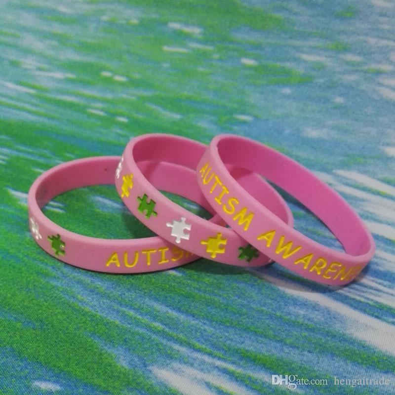 alta calidad AUTISMO Y Relieve con cartucho de tinta de caucho de silicona pulseras pulseras para regalos promocionales SS001