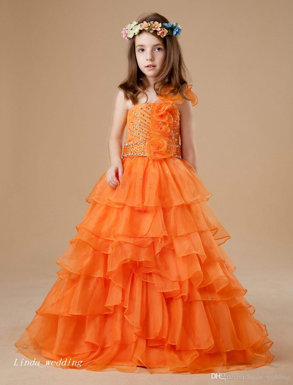 Cute Orange Colour Girl's Pageant Dress Princess Ball Gown Party Cupcake Prom Dress For Short Girl Pretty Dress For Little Kid