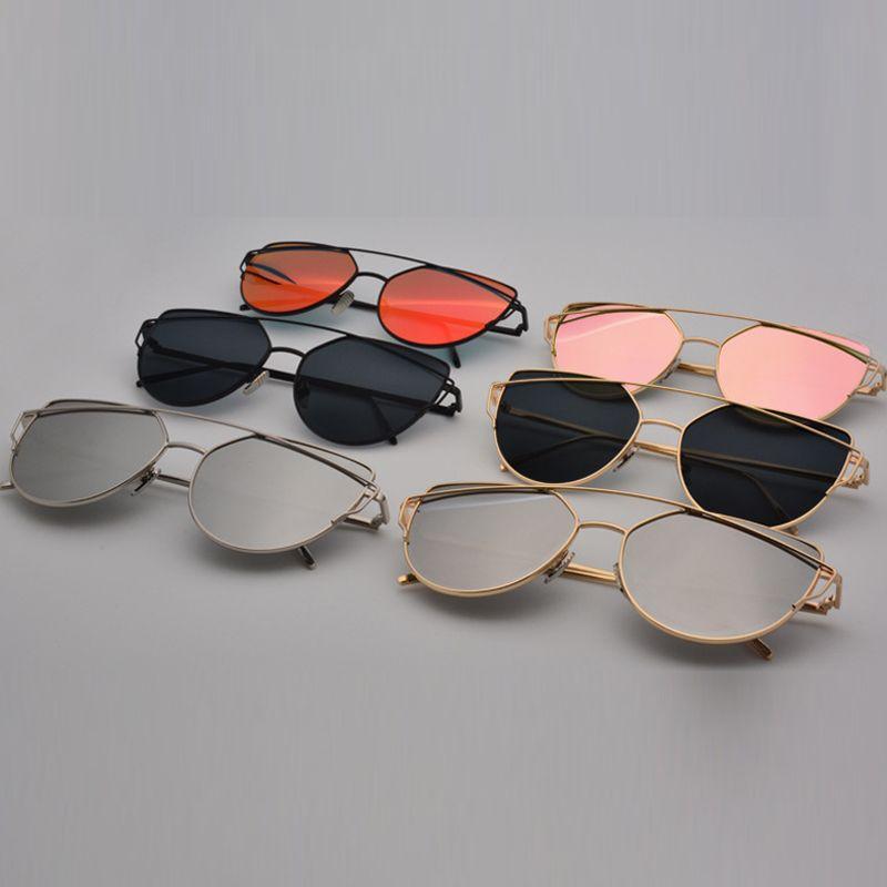 7907504765 Women Sunglasses 2016 New Brand Design Mirror Flat Rose Gold Vintage Cateye  Fashion Sun Glasses Lady Eyewear Unique Flat Ladies Sunglasses Sale Kids ...
