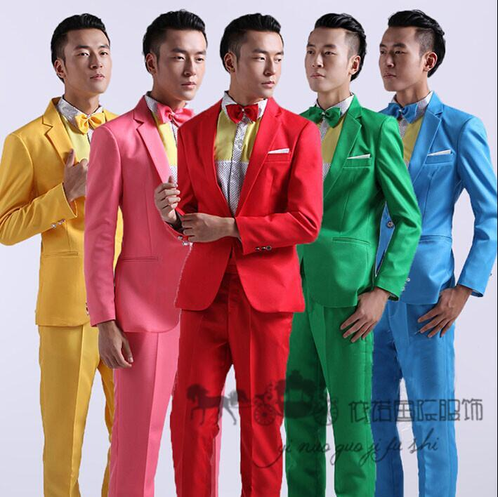 2017 2016 Fashion Suits Men Slim Fit Blue And Green Yellow ...