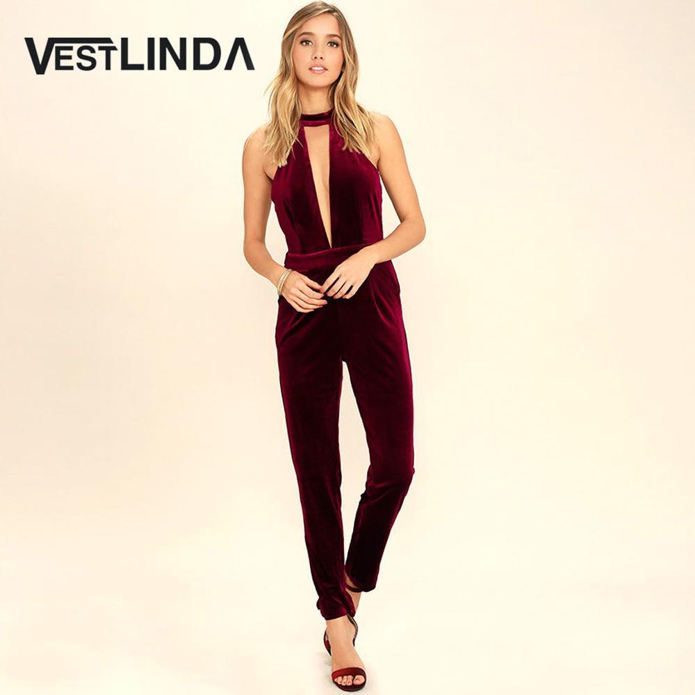 051415652f 2019 Wholesale VESTLINDA Wine Red Velvet Jumpsuit One Piece Skinny Women  Rompers Active V Neck Backless Jumpsuit Women Jumpsuit Sexy Romper From  Volontiers