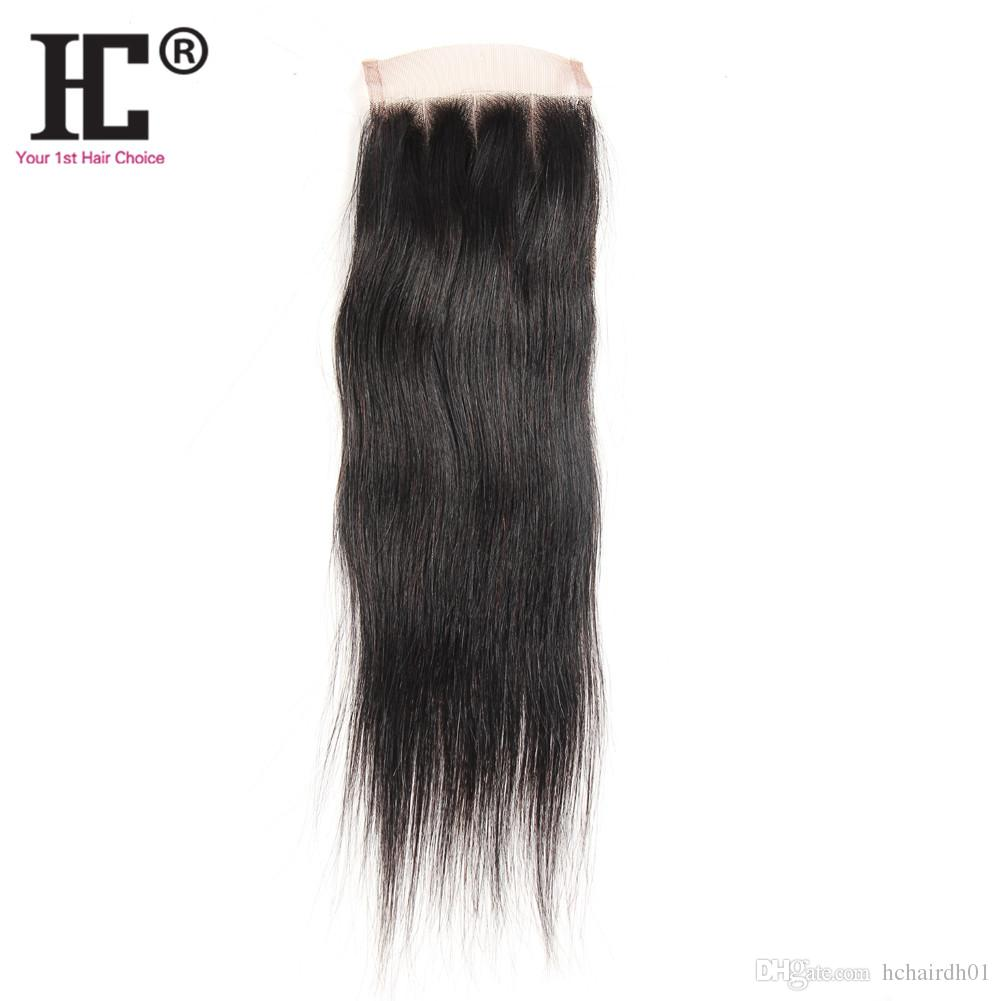 "HC hair Lace Closure 100% Unprocessed Virgin Human Hair Brazilian Silky Straight Closure Pieces Weave 8""-20""(4*4) Human Hair Top Closures"