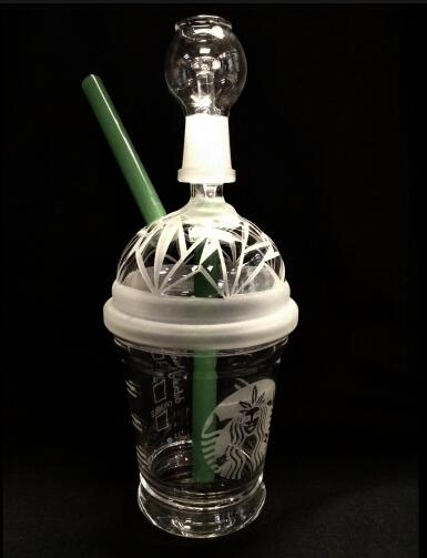 GREAT SANDBLASTED DABUCCINO STARBUCKS GLASS BUBBLER OIL RIG Dab Concentrate Oil Rig HITMAN GLASS DABUCCINO INSPIRED CUP RIGS GLASS BONGS