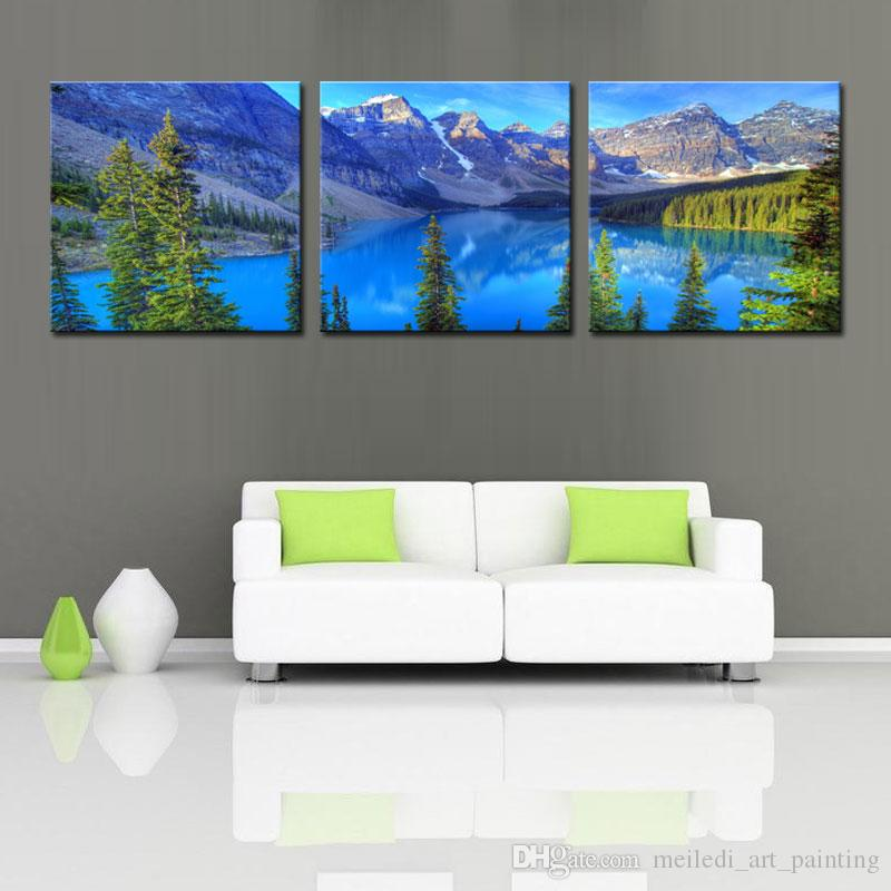 Стены искусства холст декор пейзаж живопись вода горы и сосны пейзаж висит украшения картины для дома Живые картины декор