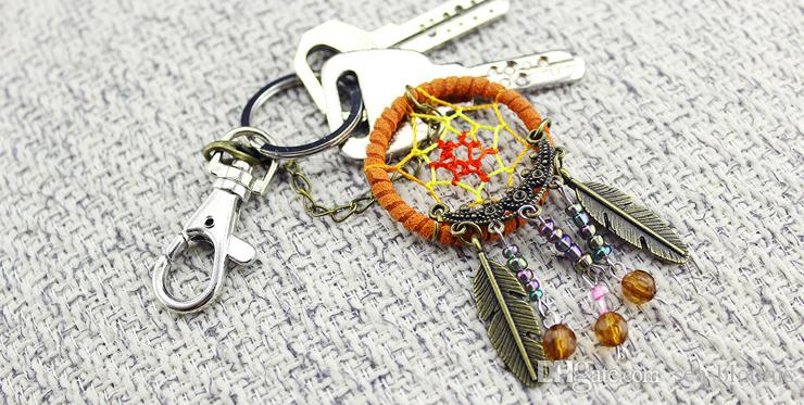 Handmade Dream Catcher KeyChain Ring Copper Feather Crystal Bead Dream Catcher Keyring Keychain Dreamcatcher Gift D361L