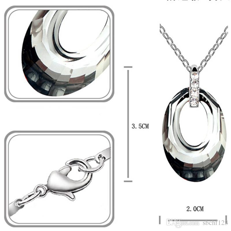 Made with Swarovski Elements Crystal Pendant Necklace For Women Fashion Designer Brand Jewellery 18K White Gold Plated 2870