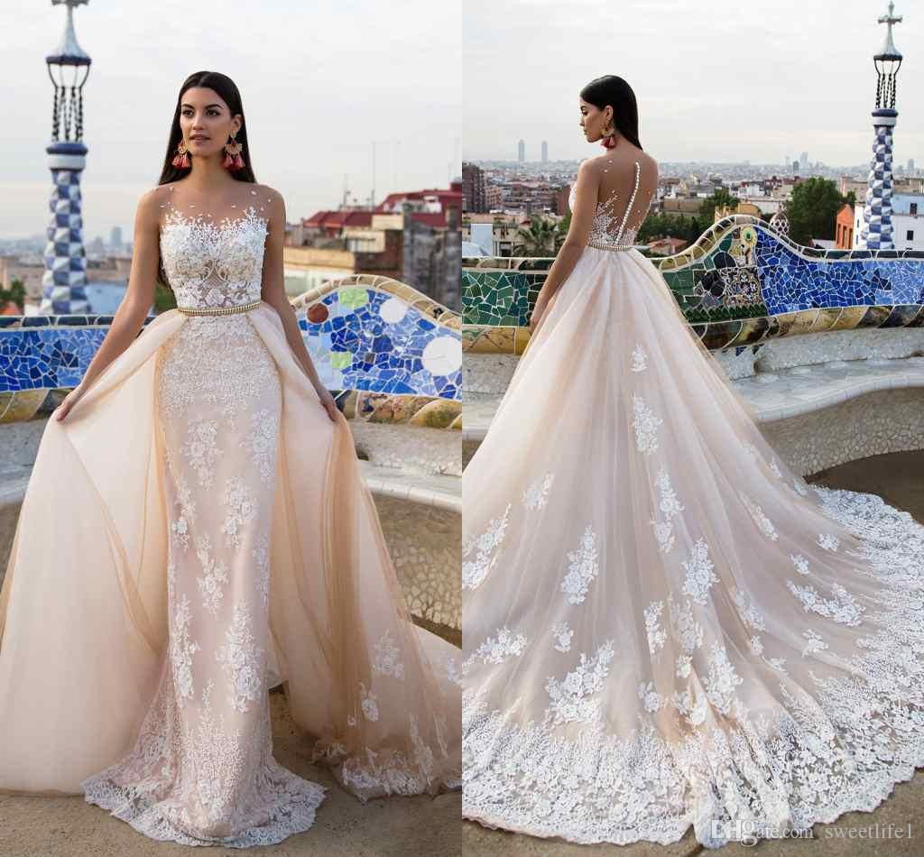 2017 Milla Nova Bridal Sheath Wedding Dresses Sheer Neck Tiered ...
