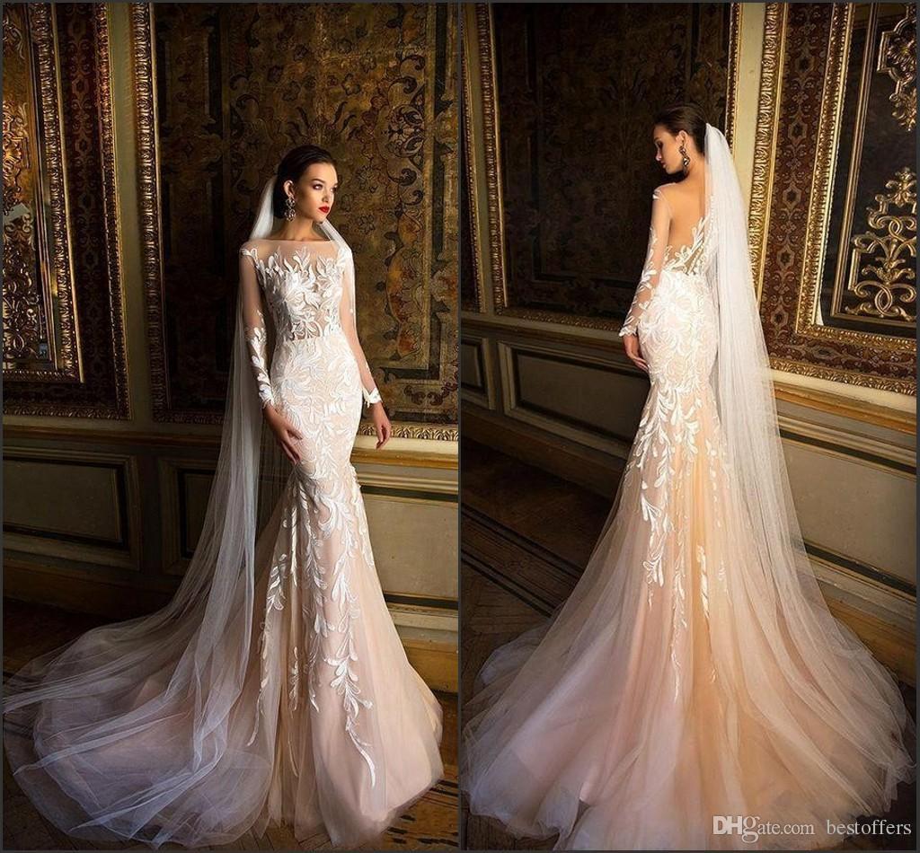 2018 Berta Mermaid Vintage Wedding Dresses Illusion Long