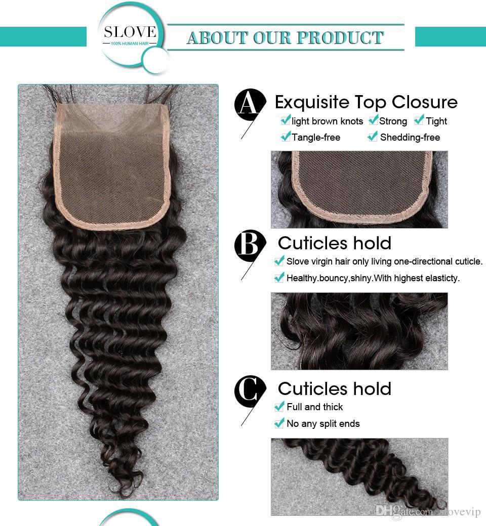 "Slove 7A Virgin Human HairBrazilian Deep Wave Closure Free/Middle /3 Part Lace Closure Bleach Knots Natural Color 8-20"" 4*4 Best Price"