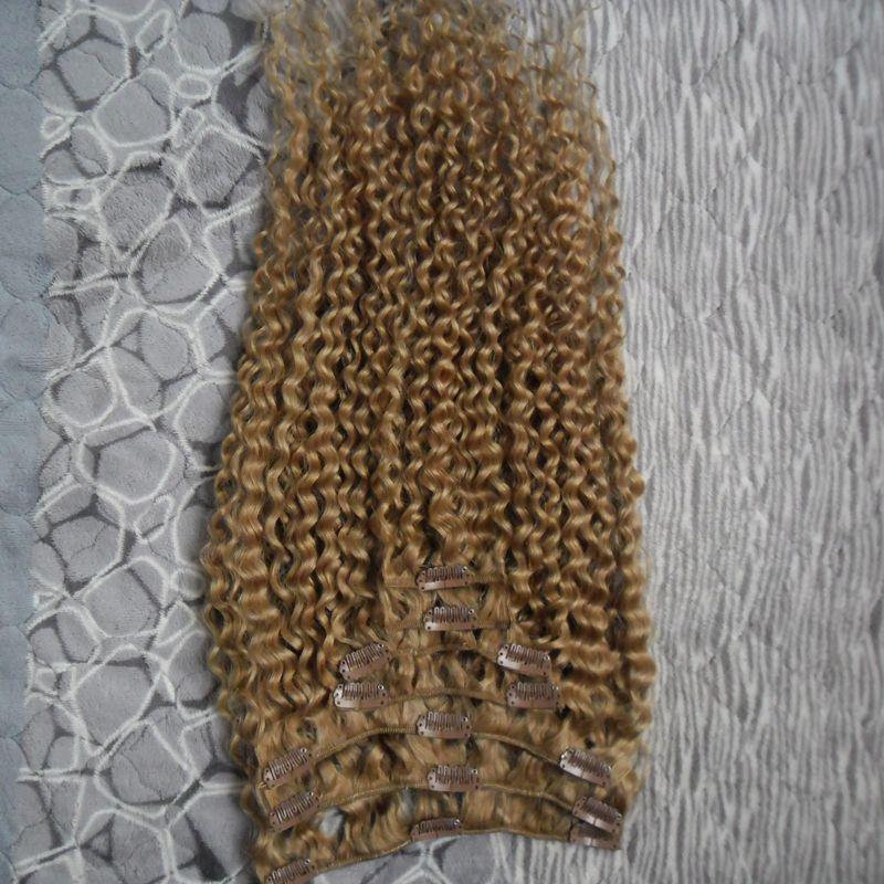 Strawberry Blonde kinky lockige clip in haarverlängerungen 100g afroamerikanischer clip in menschenhaarverlängerungen 7 stücke mongolian kinky lockiges haar