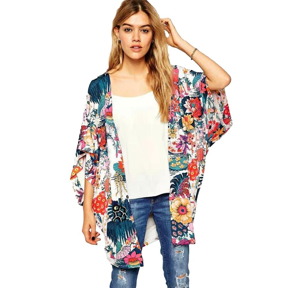 Discount 2016 Spring Women Floral Kimono Cardigan Short Sleeve ...