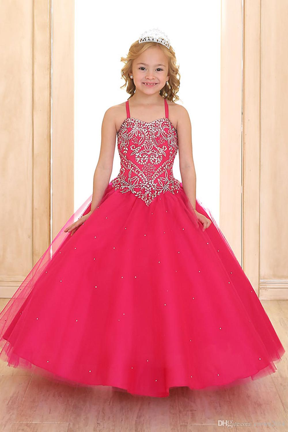 Red Princess Ball Gown Little Girls Pageant Dresses with Short Lovely Bolero Jacket Beaded Crystal Floor Length Tulle Kids Puffy Party Dress