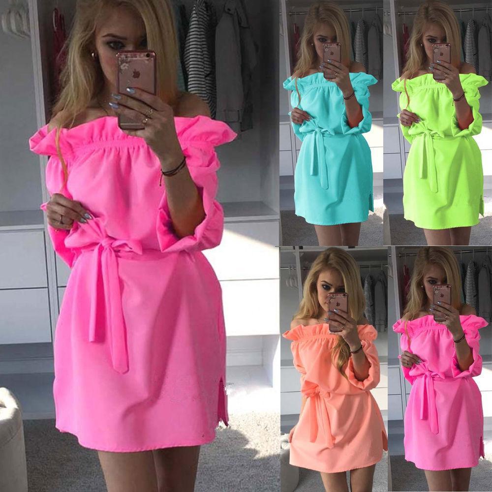 Women Neon Green Dress 2016 Cute Ruffles Slash Neck Bow Belt Pin Up ...