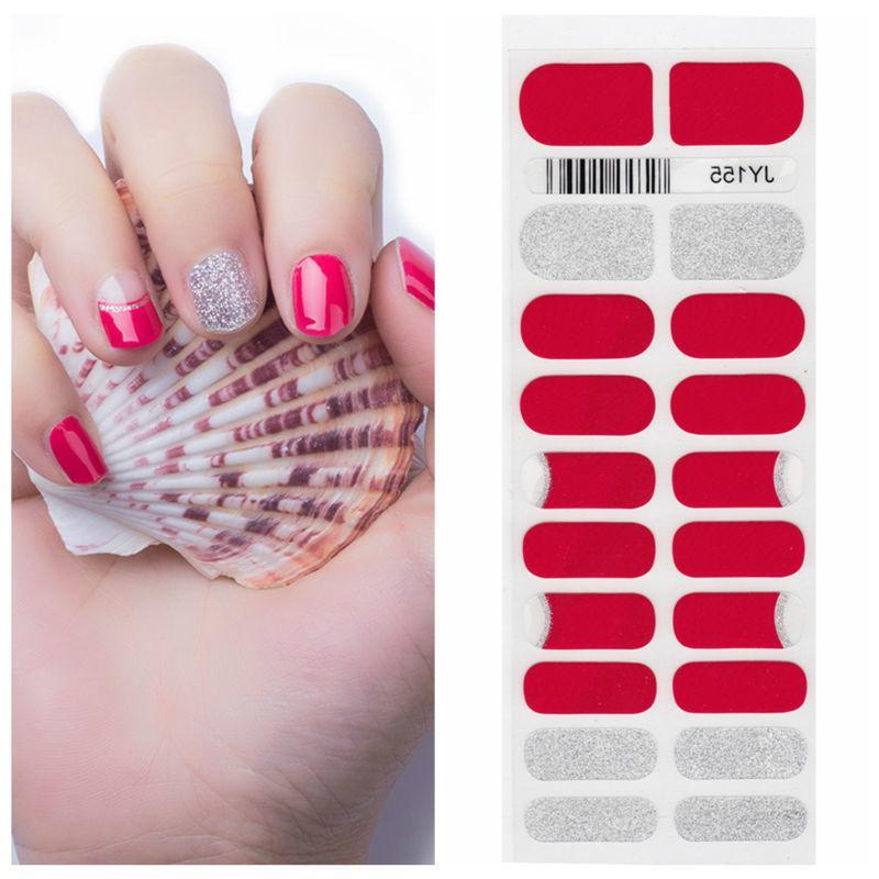 X.T Xt Nail Polish Strips Red Glitter Silver Waterproof Non Toxic ...