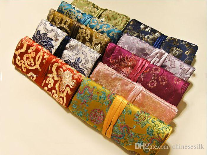 Portable Folding Smycken Travel Storage Bag Roll Up Bag 3 Dragkedja Silk Brocade Pouch Drawstring Ladies Big Makeup Kosmetisk Väska 10st /