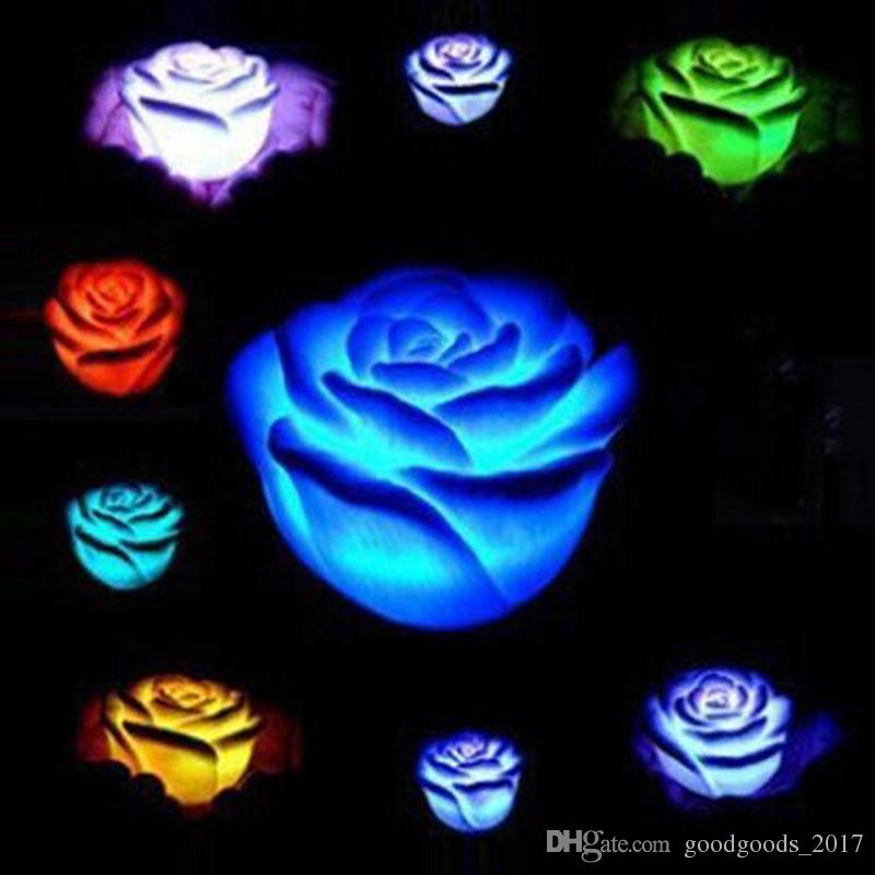 Nuevo cambio romántico LED Floating Rose Flower Candle Night Light Wedding Party inicio Decoración de Navidad MK78