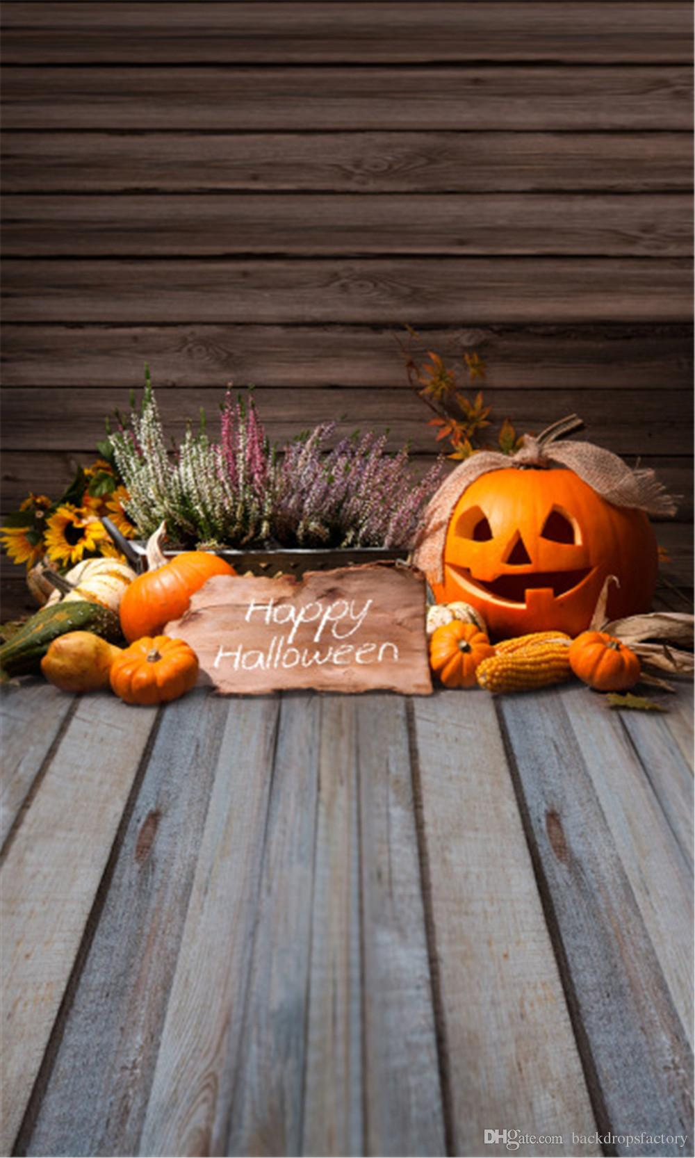 2018 Happy Halloween Backdrop Plank Wood Flooring Pumpkin