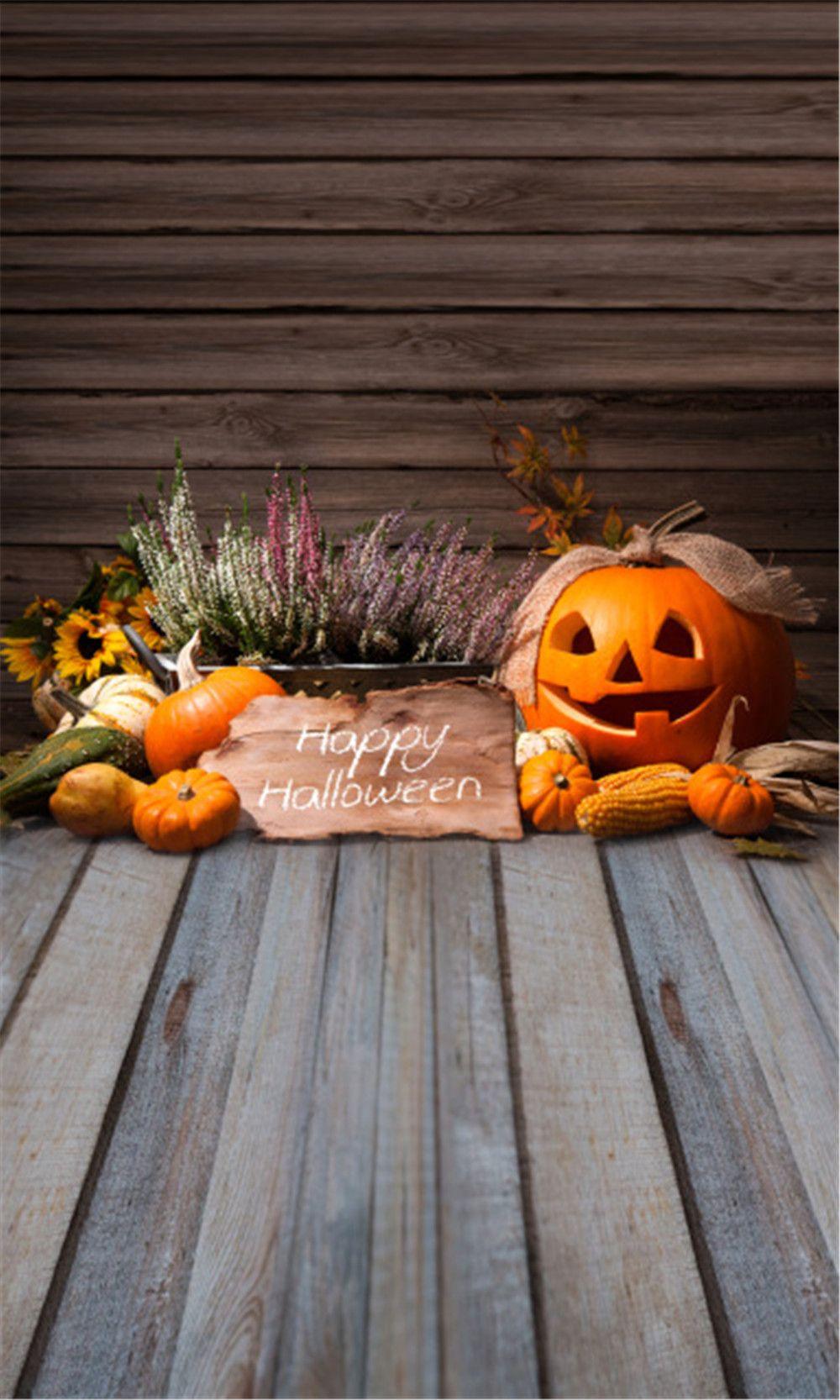 2018 Happy Halloween Backdrop Plank Wood Flooring Pumpkin Lantern Baby Newborn Studio Photo