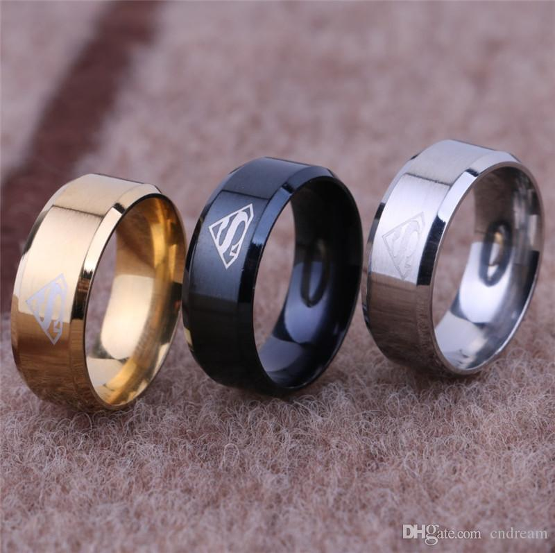 Fashion Superman Ring Stainless steel Superman LOGO Symbol Finger Rings Band Ring for Women Men Fashion Jewelry Drop Shipping