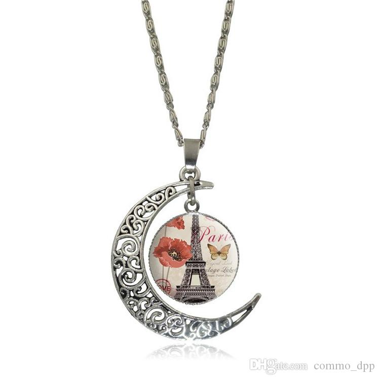New Fashion Hollow intagliato collana di pietre preziose Moon Gemstone Eiffel Tower Pendant Collane manwomen Mix Gioielli modelli