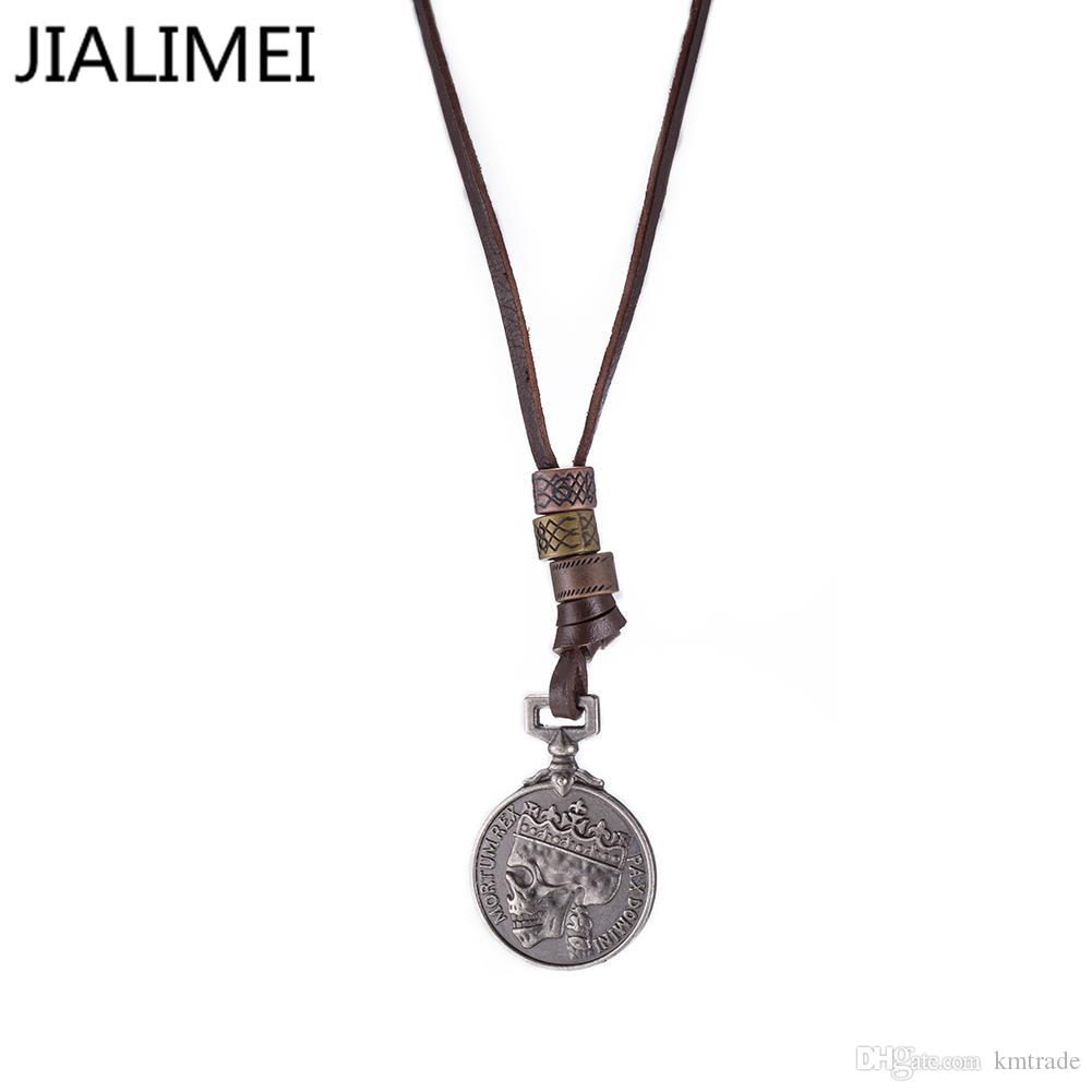 Wholesale NEW Arrive 100% Genuine Leather Men Necklaces Pendants Punk  Vintage Adjustable Brown Rope Chain Male Jewelry Mens Jewelry FSN265  Picture Pendant ...