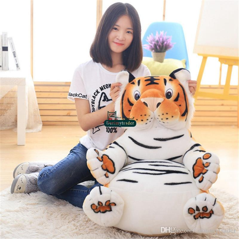 Dorimytrader Lovely Cartoon Duck Tiger Plush Kids Chair Cushion Soft Stuffed Anime Mini Sofa Animal Doll Toy Baby Gift 60cm X 60cm DY61705