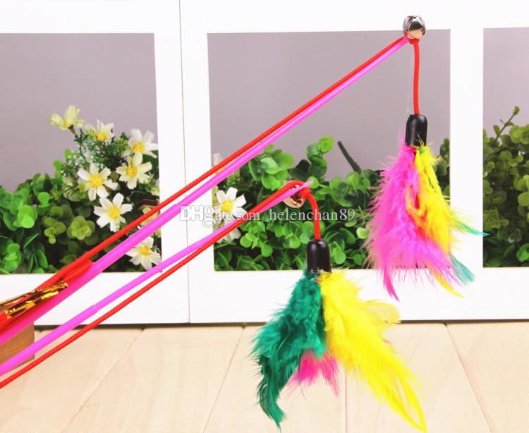 30cm Length Color Feather Tease Cat Toy with Bell Cute Pet Toys for Cats Drop Shipping Fast Delivery Time /