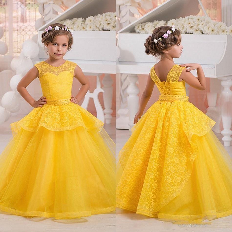 Yellow Lace Flower Girls Dresses Children Sheer Neck Tiers Skirt Peplum Girls Pageant Dress Lace Up Princess Kids Birthday Dress Formal Wear