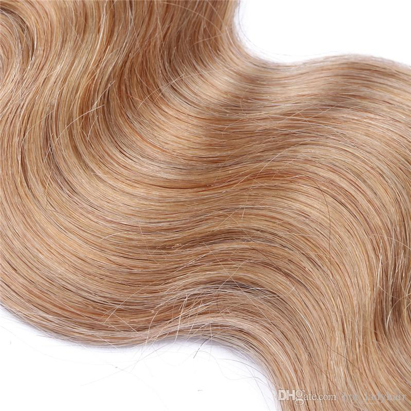 "27 Body Wave Malaysian Hair Bundles Honey Blonde Human Hair Weaves 10""-30"" Hair Extensions"