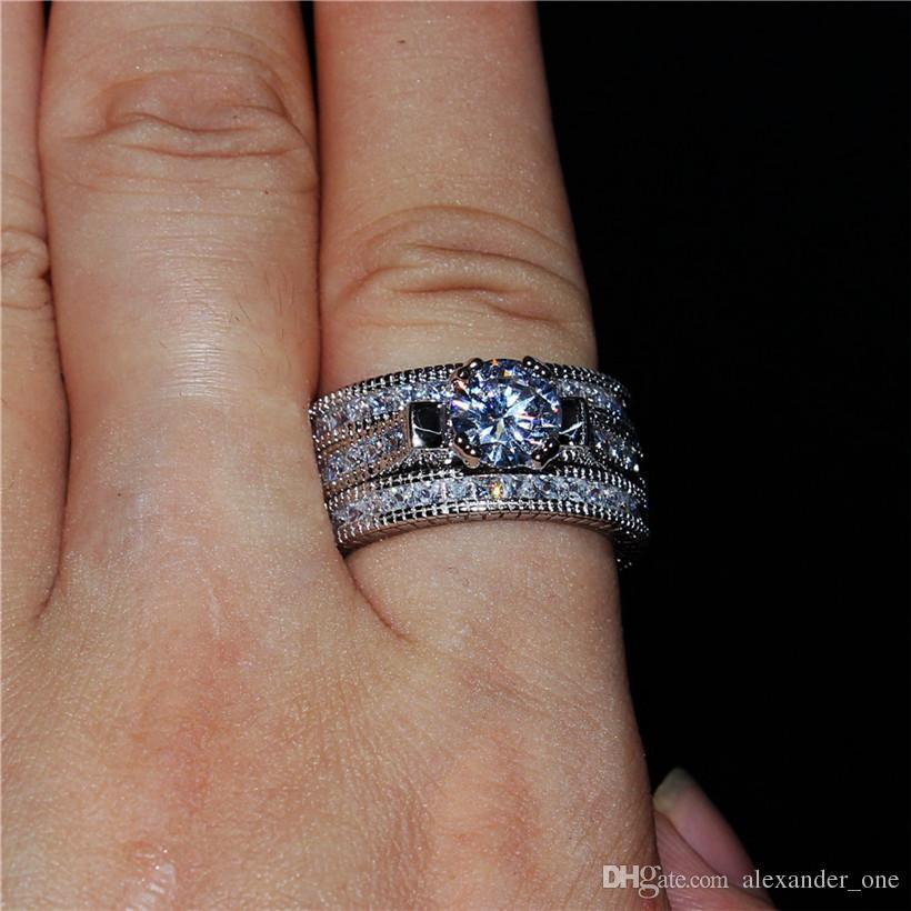 Anelli di diamanti simulati quadrati 20ct di lusso set 3-in-1 Gioielli di fidanzamento di fidanzamento in oro massiccio 14kt Anello riempito di oro bianco le donne taglia 5-11