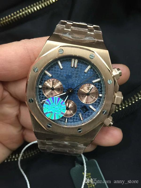 High End Watches >> Top Luxury 42mm Men High End Watches Imported V6 Quartz Core Blue