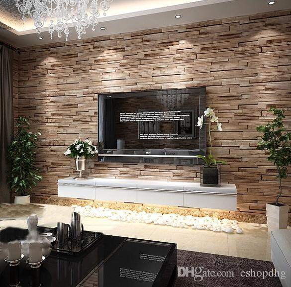 Pvc wood stone brick wallpaper 3d modern wall paper luxury for Anvica homes 3d wallpaper
