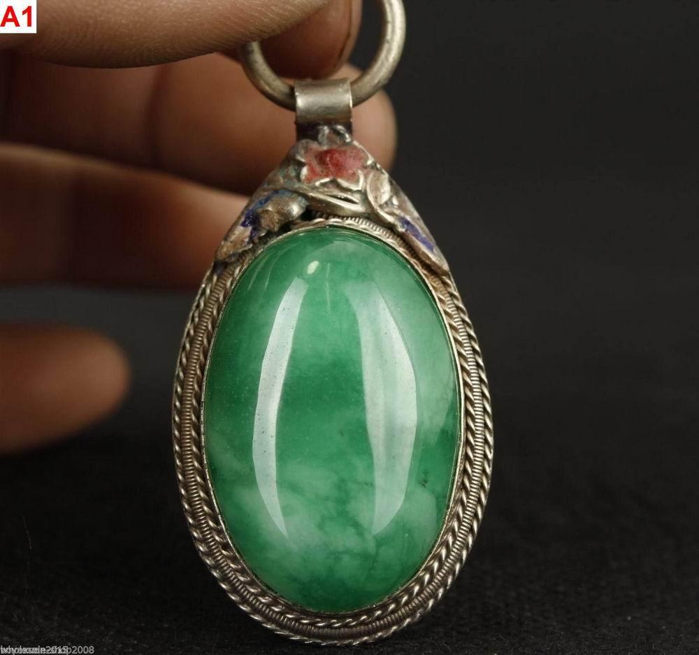 2 estilo fino chino viejo jade coleccionable trabajo a mano tallado cloisonne ornament colgante