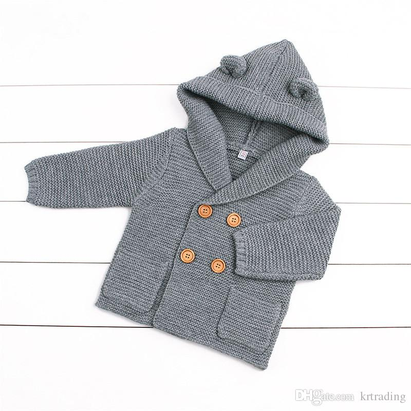 Baby simple styles Hooded Jumper 6-24m cute ears hoodie knitting swearters infants autumn winter warm fashion coat for 6-24m ins hot