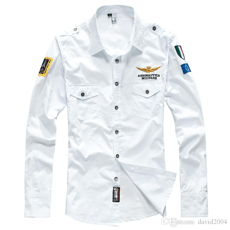 Shirts Men's Clothing Fashion Style M-3xl Brand Men Aeronautica Militare Air Force One Shirt Men Long Sleeve Casual Embroidery Logo Patch Plane Pilot Shirt
