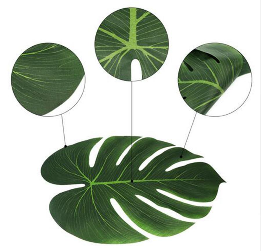 35x29cm Artificial Tropical Palm Leaves for Hawaii Luau Party Decorations Beach Theme Wedding Table Decoration Accessories