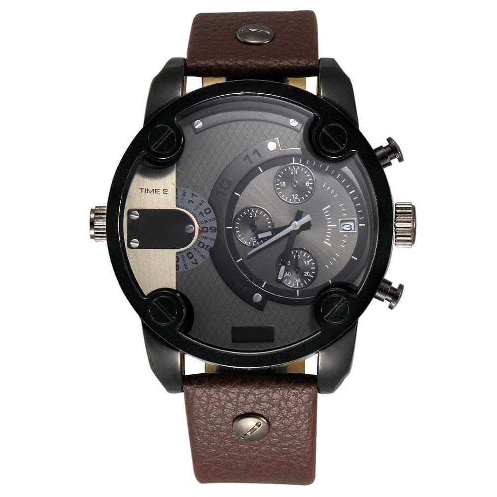 Fashion Brand 7258 Men's Big Case Mutiple Dials Date Display Leather Strap Quartz Men's Wrist Watch