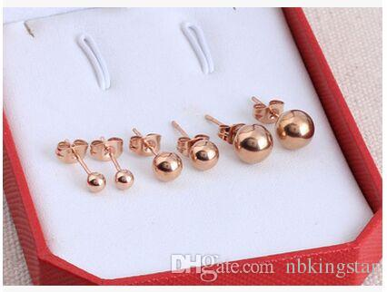 14k Women's Rose Gold Plated Simple Cute Ball Stud Earring 4mm 5mm 8mm