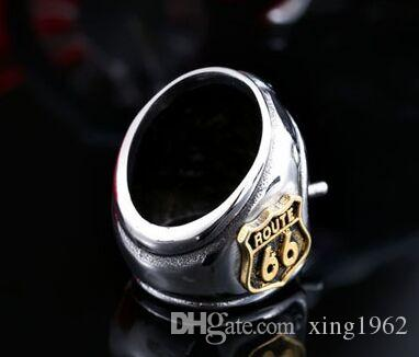 fast shipping band party 316 stainless steel Motorcycles ROUTE 66 cool mens ring punk new golden silver ring biker ring size 7~13