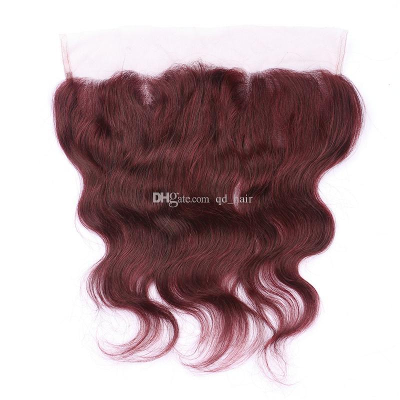 Вино Красное 99J объемная волна волос ткет с 13x4 кружева фронтальная бордовый волос 3 пучки с уха до уха волос кружева фронтальная