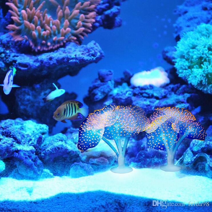 Otário Coral Aquário Artificial Planta De Silicone Coral Com Otário Ornamento Decoração Da Paisagem Da Água Acessórios Do Aquário Do Tanque de Peixes G952