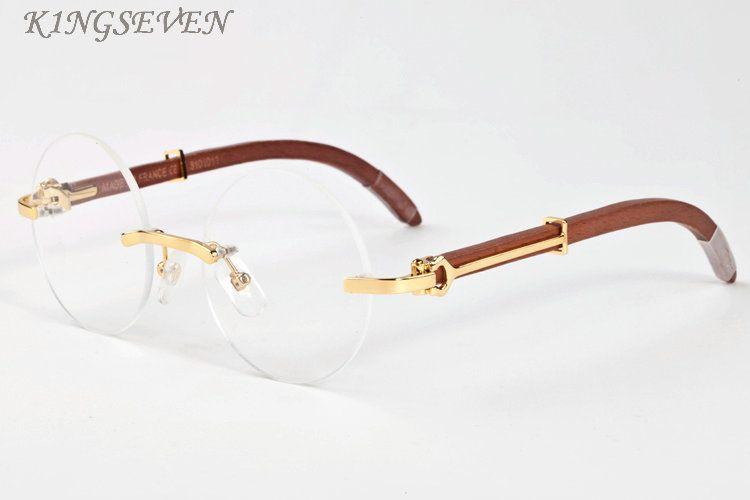 óculos de sol de madeira para homens retro chifre de búfalo copos cheios de ouro moldura e moldura de prata marrom lentes claras pretas óculos redondos com caixa