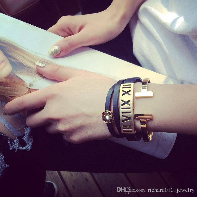 Fashion Jewelery Rose Gold Plated Adjustable Pulsera Metal Cuff Double T Shaped Bangle Bracelets Open Cross Charm Bracelet For Women Or Men