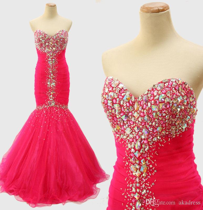 Vestido Para Festa Curto Pink Pink Mermaid Prom Dresses 2017 Beaded ...