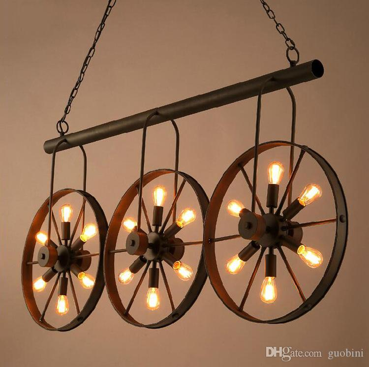 Ndustrial wind restoring ancient ways wheel droplight creative droplight creative coffee western restaurant bar counter wrought iron lamp ceiling light fittings hanging light fixtures from guobini 15829 dhgate aloadofball Image collections