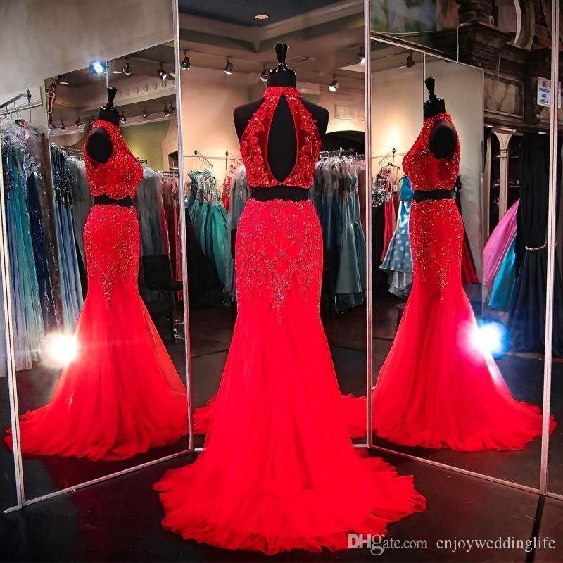 Rojo real azul fucsia encaje largo Rhinestones de cristal sirena con cuentas vestidos de baile Vestidos de noche de dos piezas Vestidos formal del desfile del partido