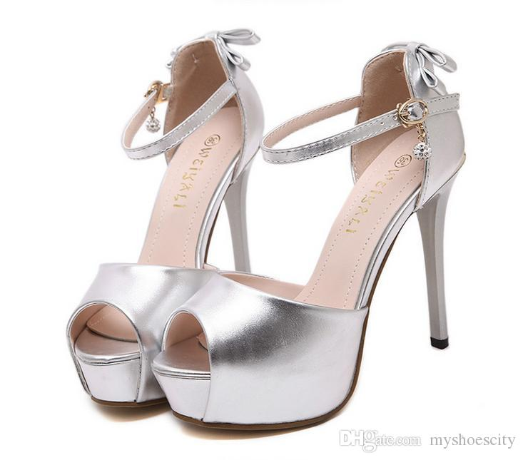 c41dd54463e Sweet Bowtie Silver Wedding Shoes Peep Toe Ankle Strap Sexy High ...