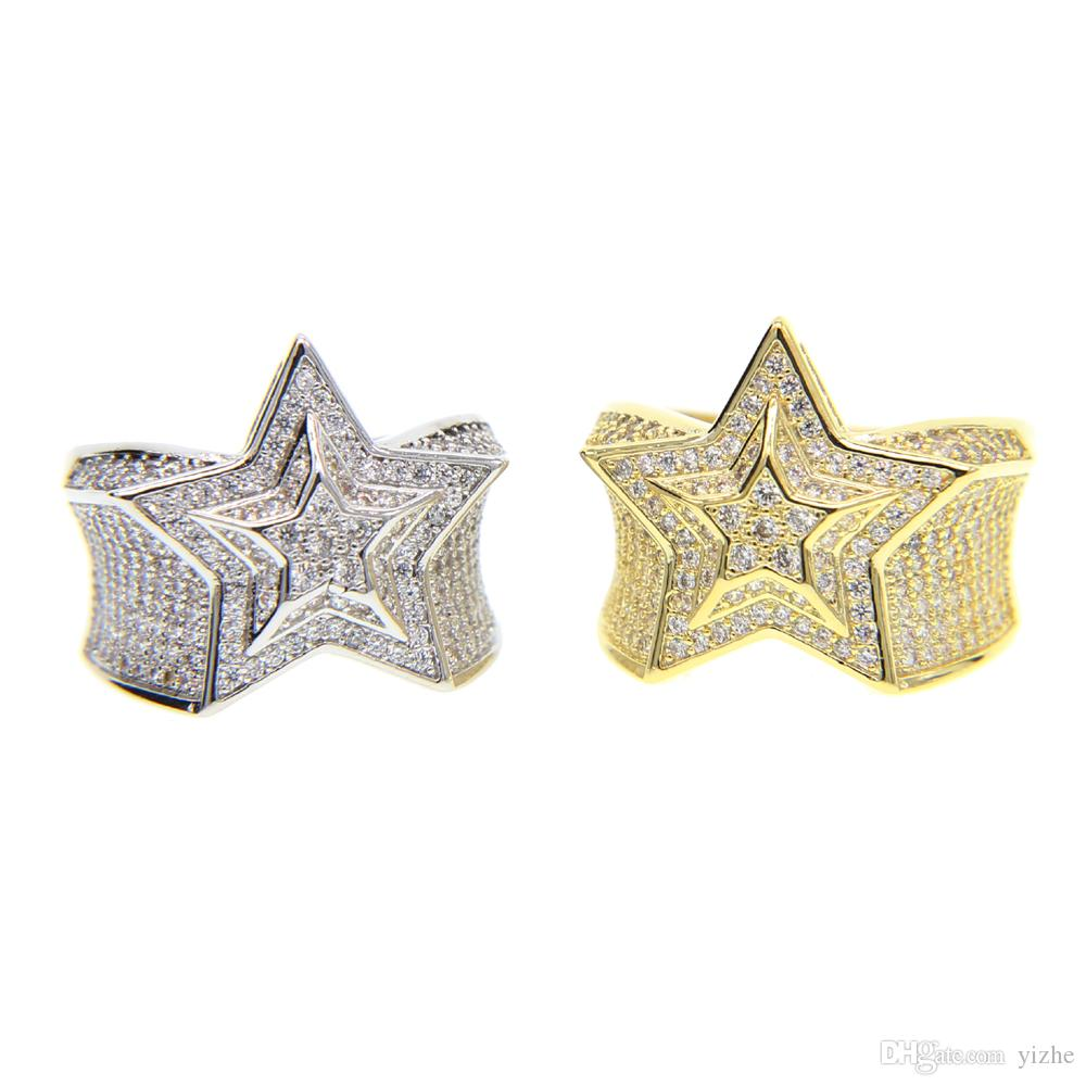 2017 silver gold color mens jewelry wedding engagement hip hop bling size 9-11 micro pave cz star mens gold ring