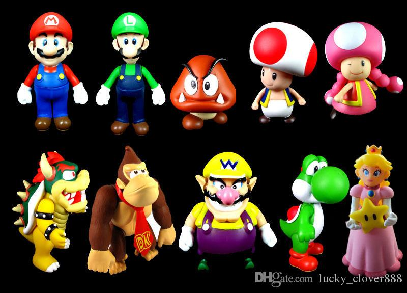 2019 Set Kids Cartoon Super Mario Bros Brothers Yoshi Luigi Bowser Wario Pvc Action Figures Figurines Model Dolls Toy Gift From Lucky Clover888